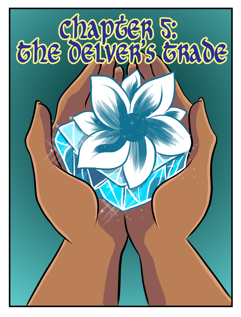 What are you talking about? This looks no way like an upside down version of a book cover. It's just a delver's hands holding a frozen chunk of ice with a living flower growing out of it. I'm sure it has no connection to the chapter whatsoever.